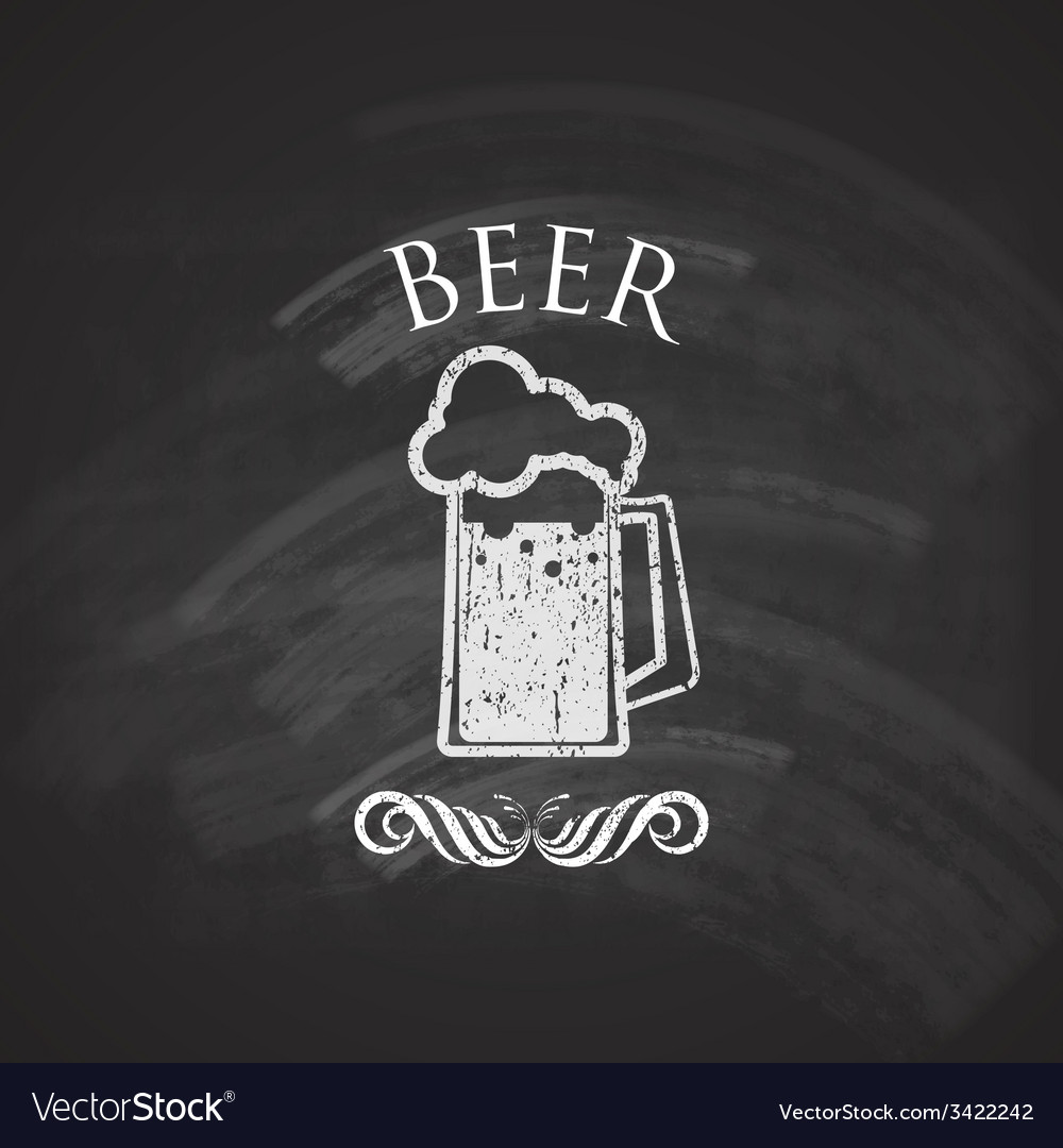 Vintage beer pint glass with chalkboard texture vector | Price: 1 Credit (USD $1)