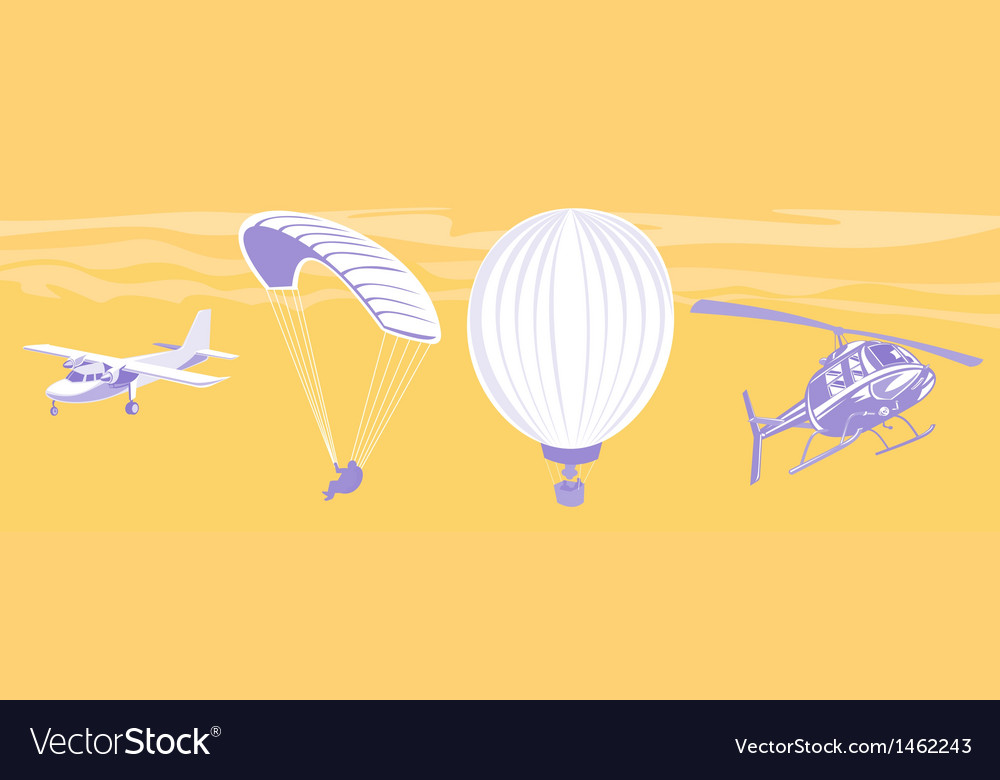 Airplane parachute hot air balloon helicopter vector | Price: 1 Credit (USD $1)