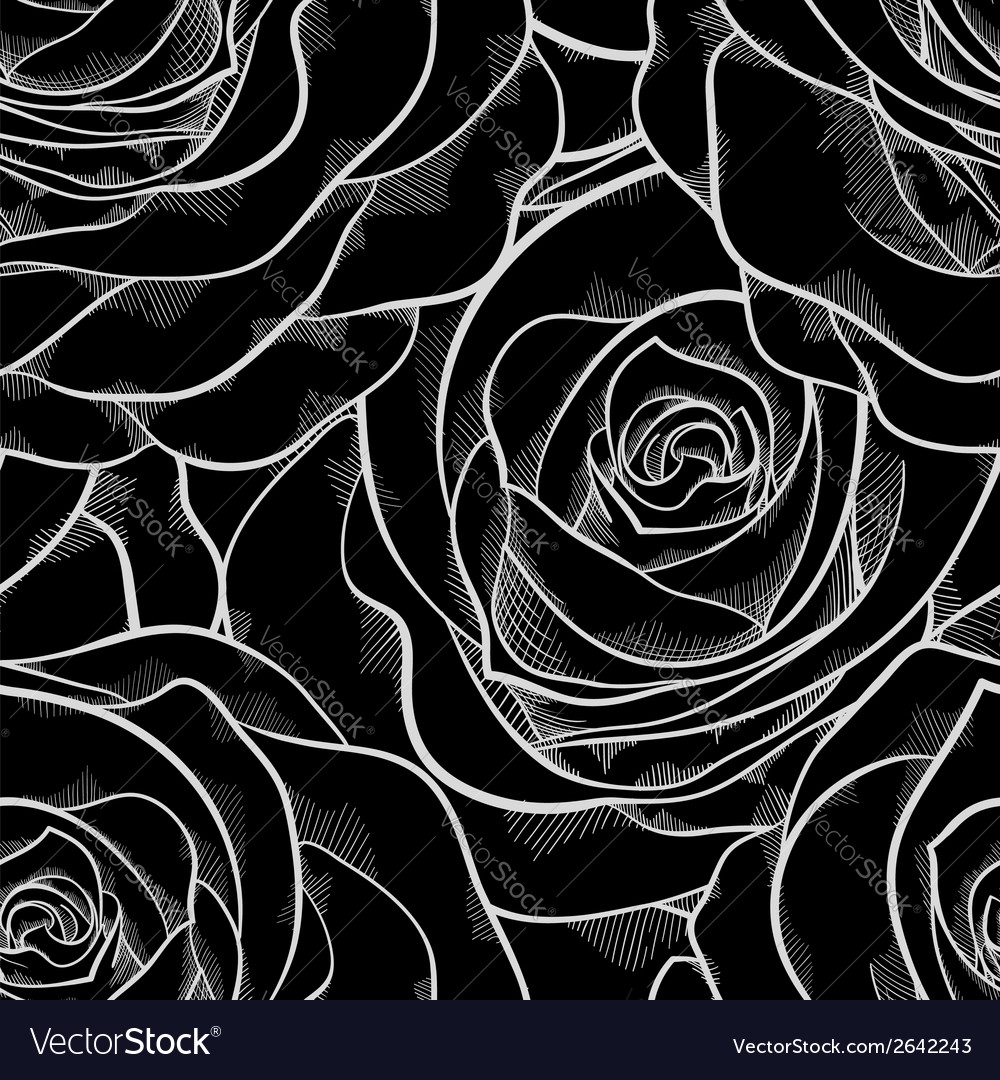 Black and white seamless pattern in roses contours vector | Price: 1 Credit (USD $1)