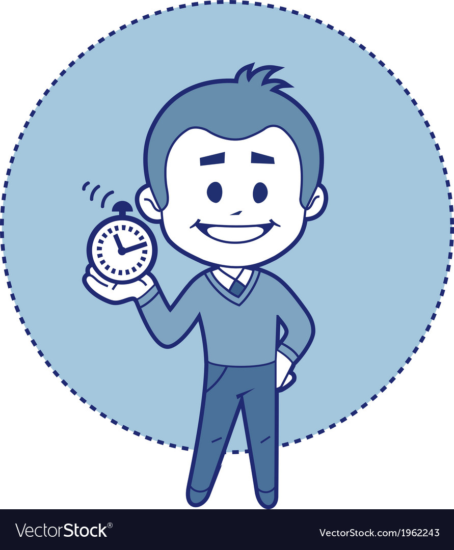 Character man with alarm clock vector | Price: 1 Credit (USD $1)