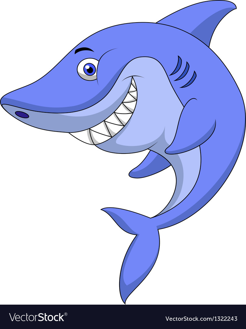 Cute shark cartoon vector | Price: 1 Credit (USD $1)