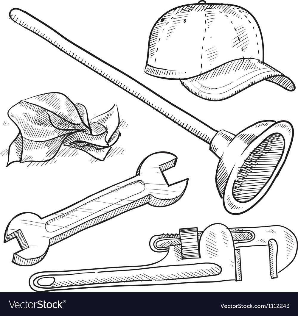 Doodle plumber plunger wrench pipe hat vector | Price: 1 Credit (USD $1)