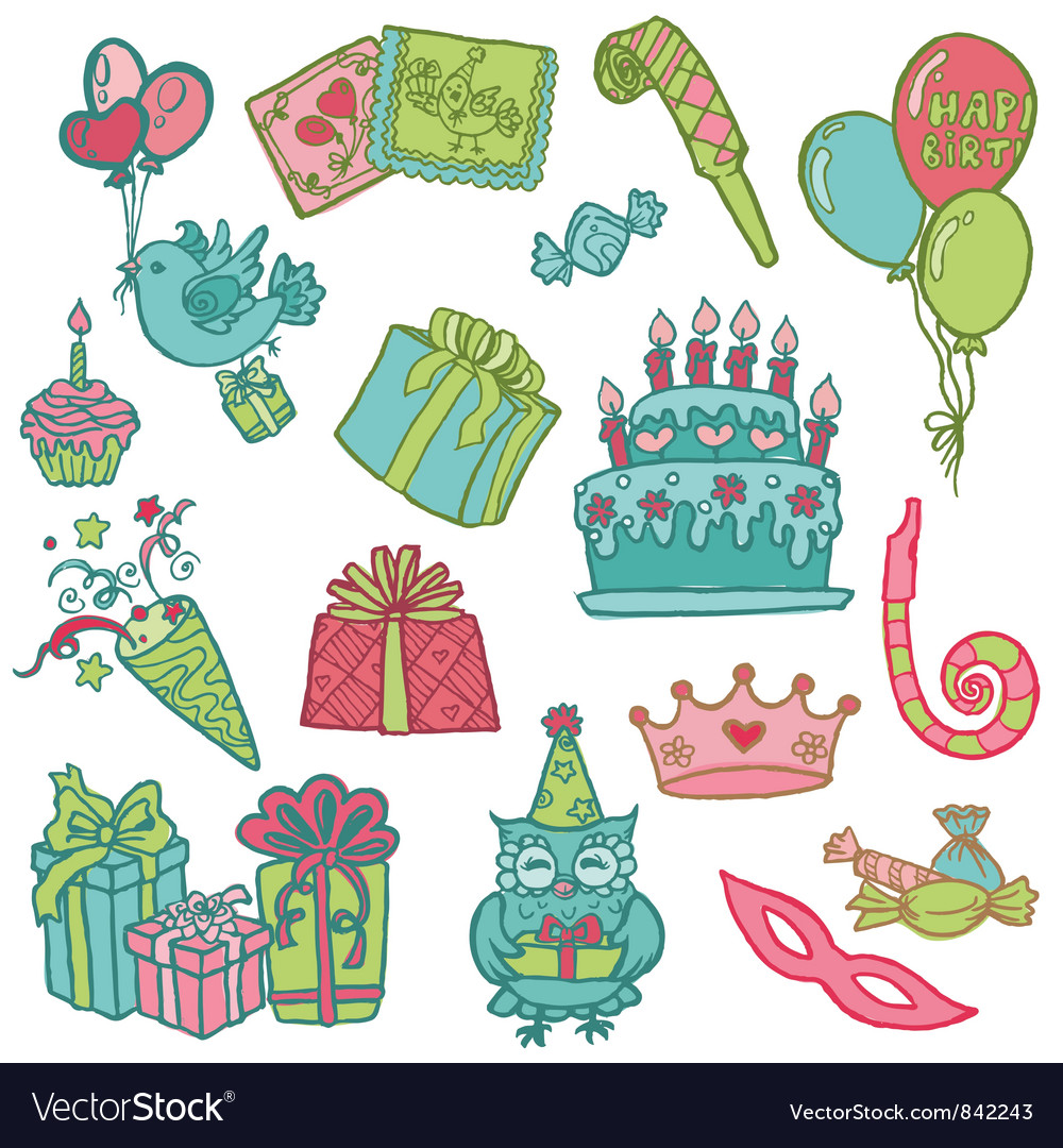 Hand drawn birthday celebrations vector | Price: 1 Credit (USD $1)