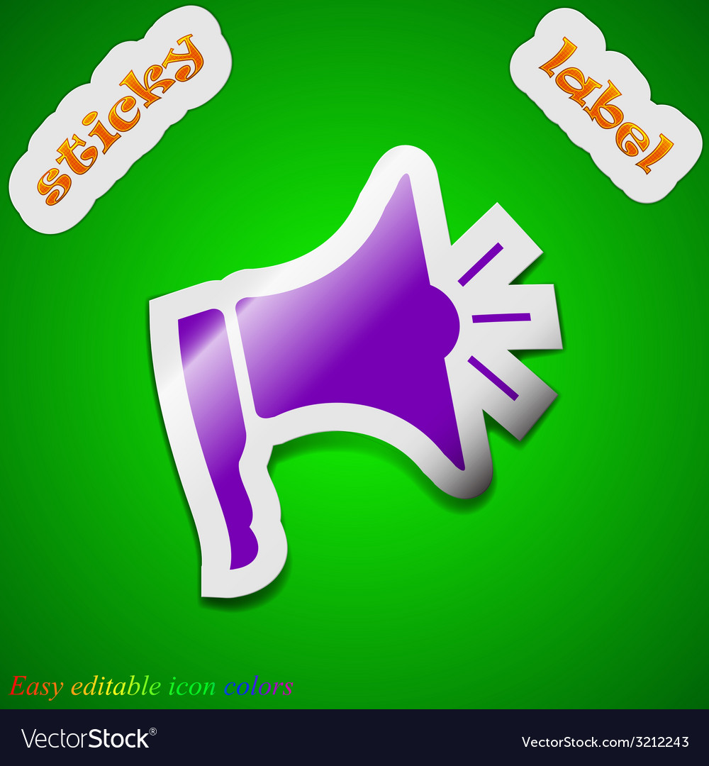 Megaphone icon sign symbol chic colored sticky vector | Price: 1 Credit (USD $1)