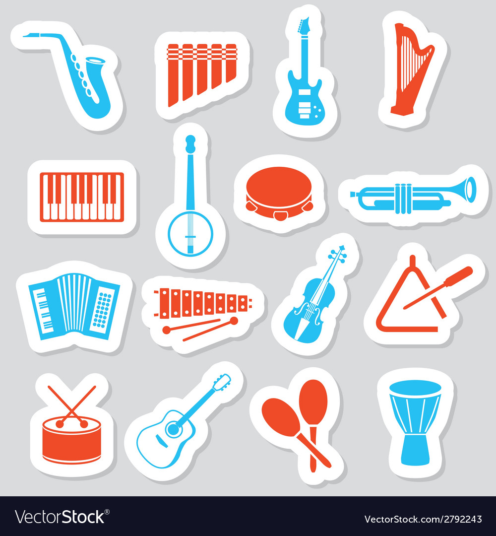 Music instruments stickers vector | Price: 1 Credit (USD $1)
