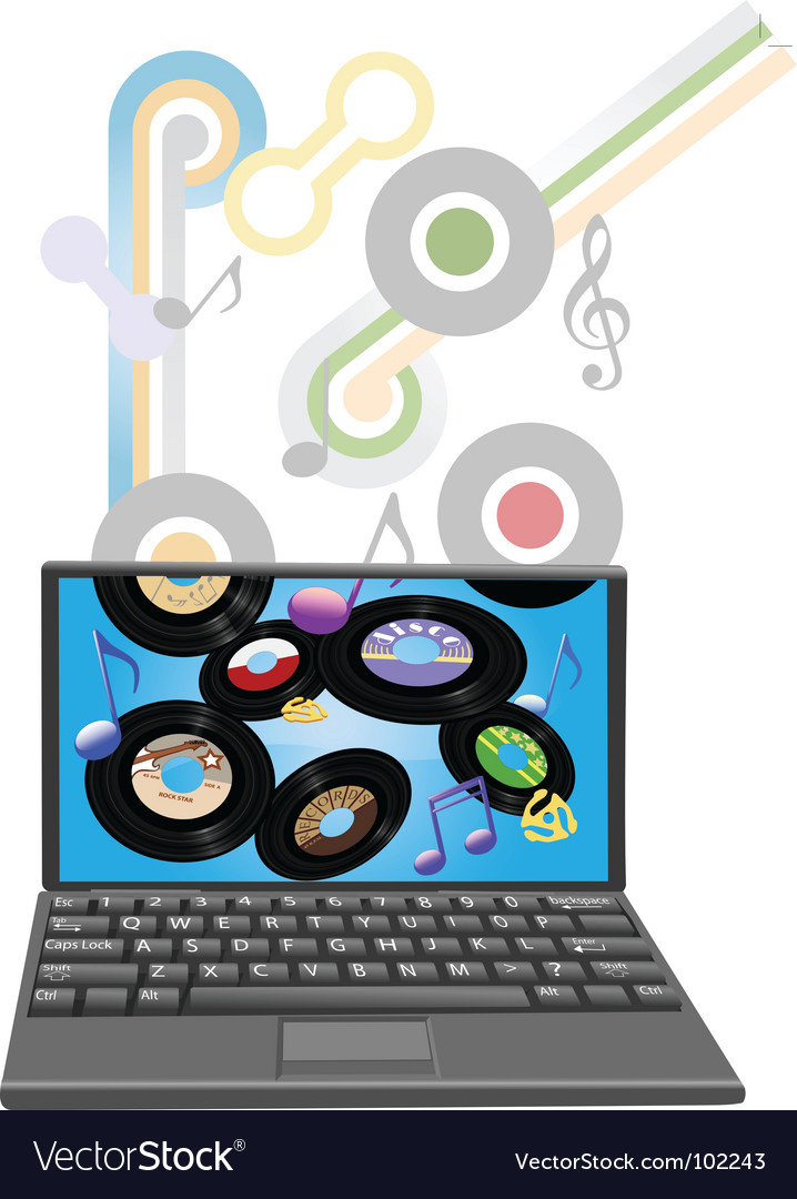 Music to laptop computer vector | Price: 1 Credit (USD $1)