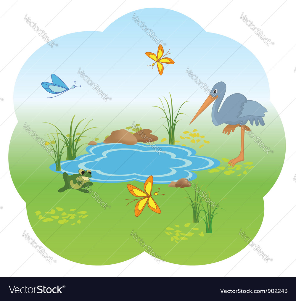 Nature with blue lake vector | Price: 1 Credit (USD $1)