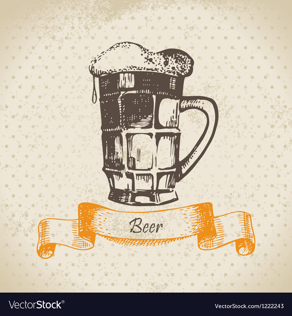 Oktoberfest vintage background with beer vector | Price: 1 Credit (USD $1)
