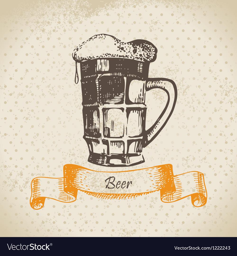 Oktoberfest vintage background with beer vector   Price: 1 Credit (USD $1)