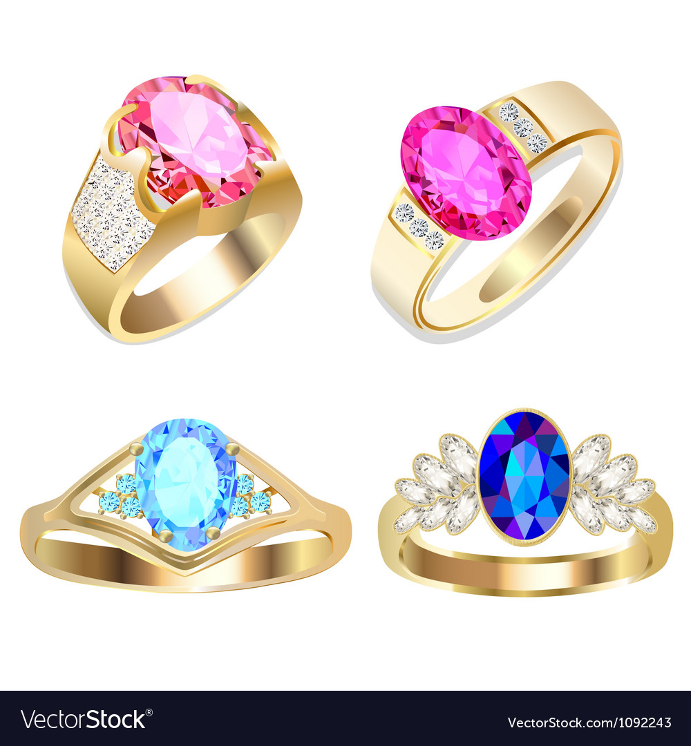 Ring set with precious stones vector   Price: 1 Credit (USD $1)