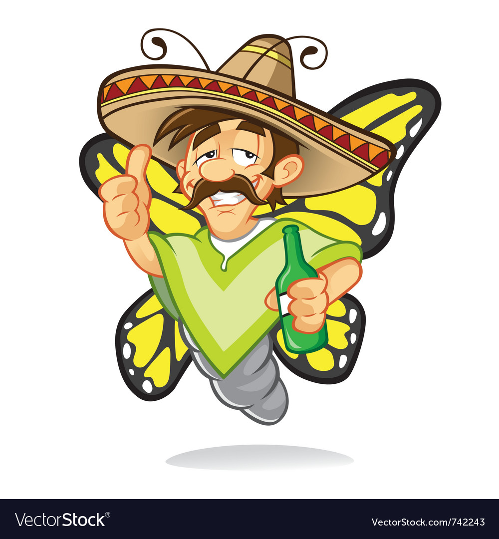 Sombrero drunken butterfly vector | Price: 3 Credit (USD $3)