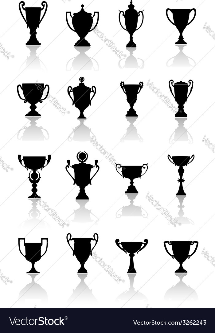 Trophy cups set vector | Price: 1 Credit (USD $1)