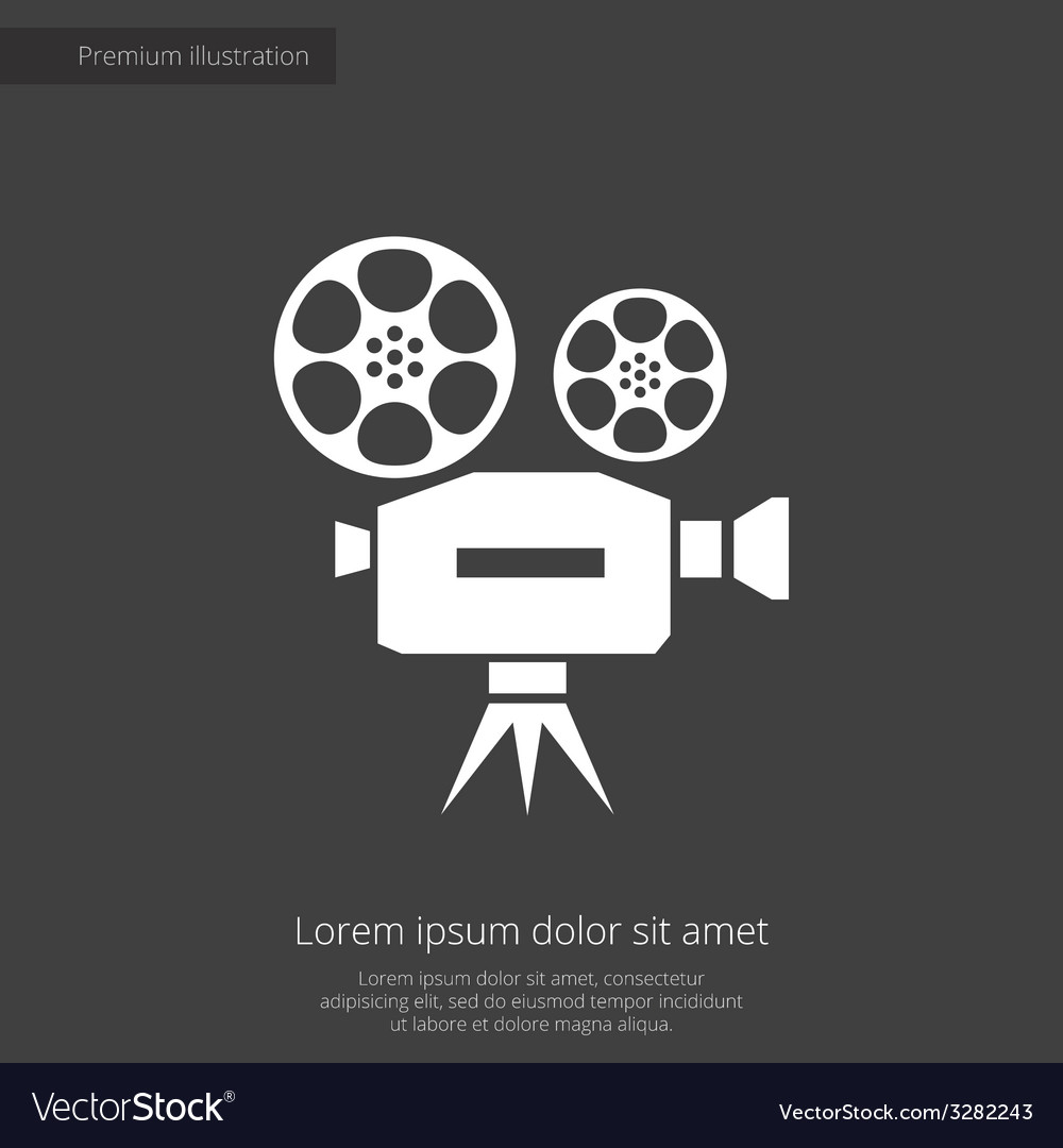 Video premium icon white on dark background vector | Price: 1 Credit (USD $1)