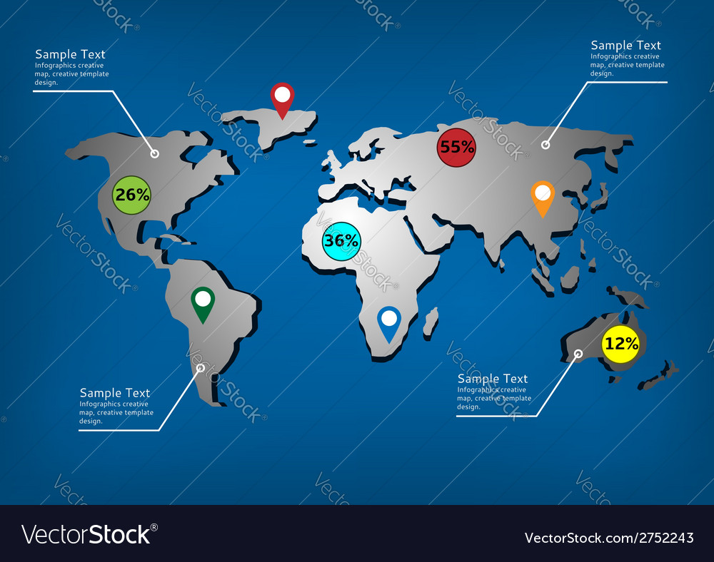 World map infographic template vector | Price: 1 Credit (USD $1)