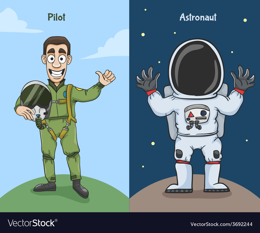 Astronaut and pilot characters vector | Price: 1 Credit (USD $1)