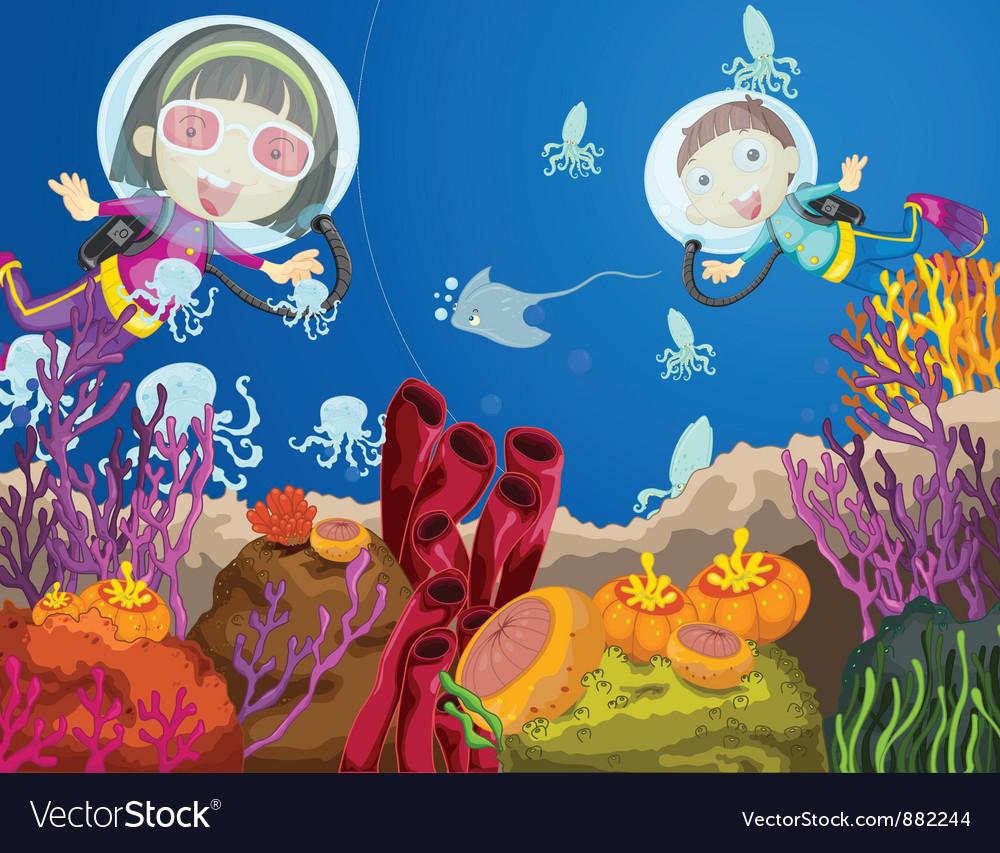 Children diving vector | Price: 5 Credit (USD $5)