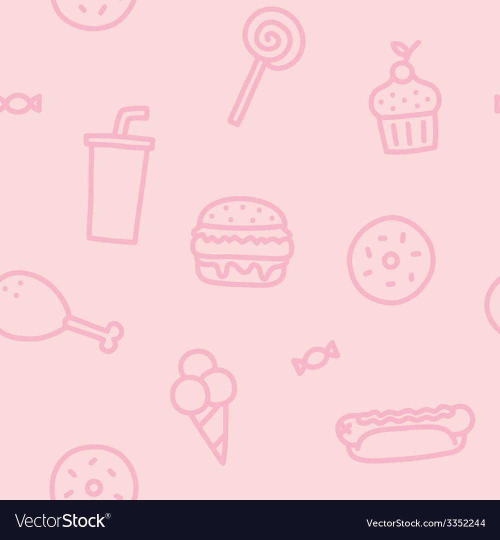 Junk food pink seamless pattern vector | Price: 1 Credit (USD $1)