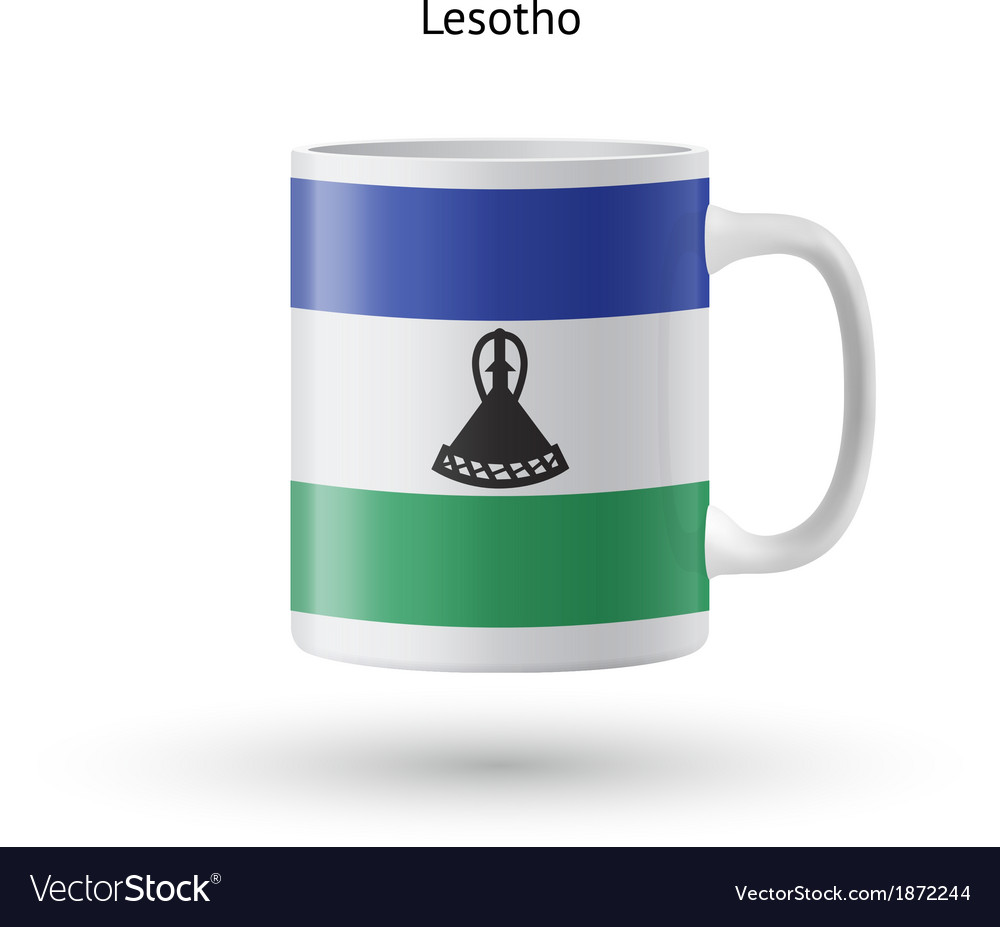 Lesotho flag souvenir mug on white background vector | Price: 1 Credit (USD $1)