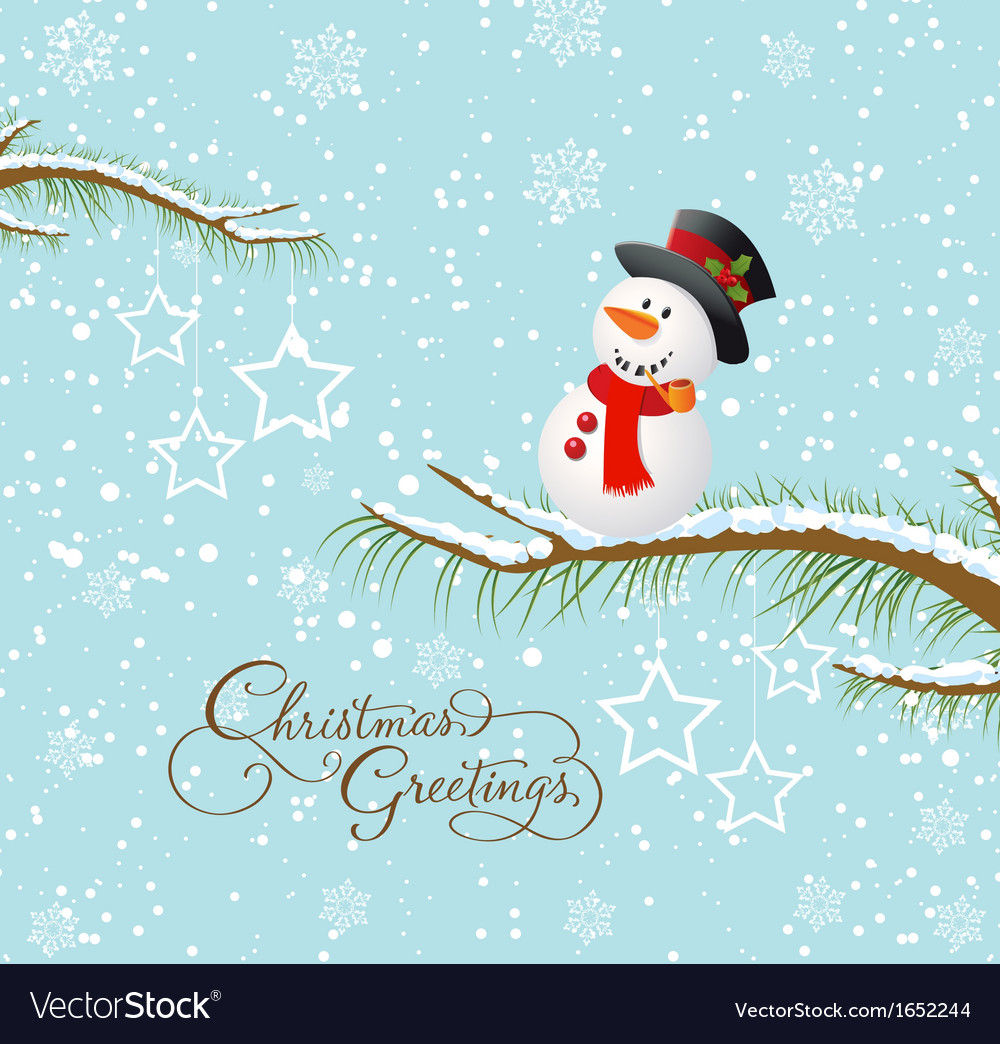Merry christmas card with snowman vector | Price: 1 Credit (USD $1)