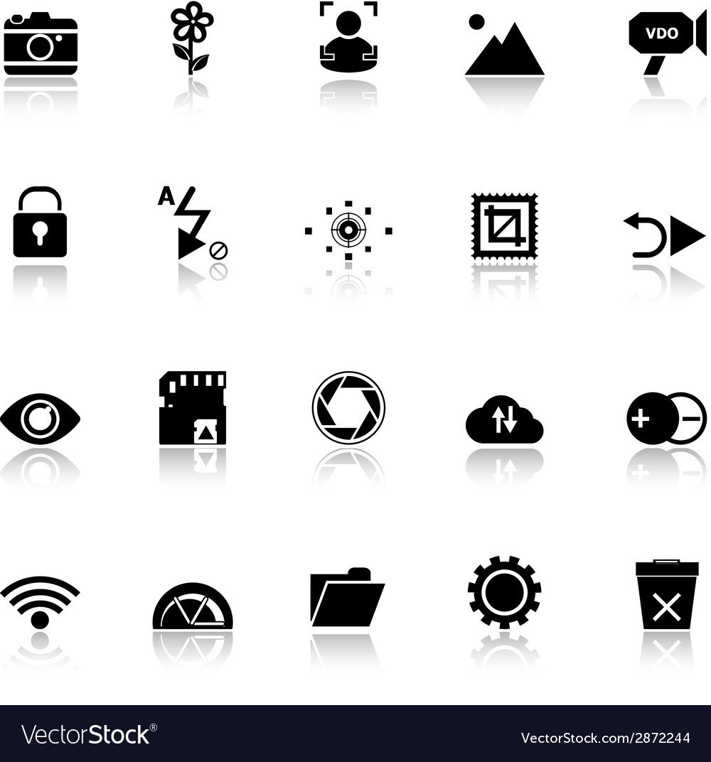 Photography sign icons with reflect on white vector | Price: 1 Credit (USD $1)