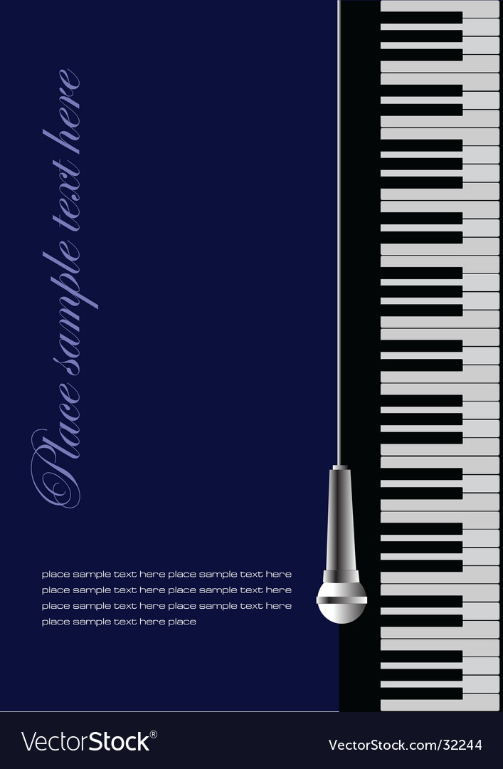 Piano wit microphone vector | Price: 1 Credit (USD $1)