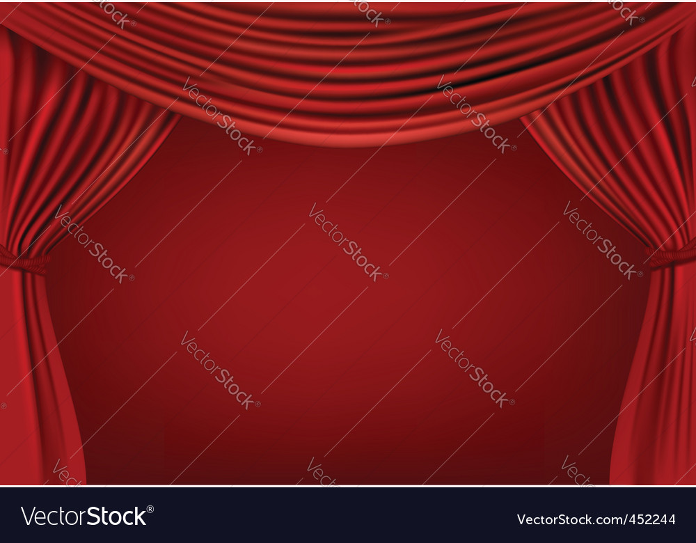 Red curtains on red background vector | Price: 1 Credit (USD $1)