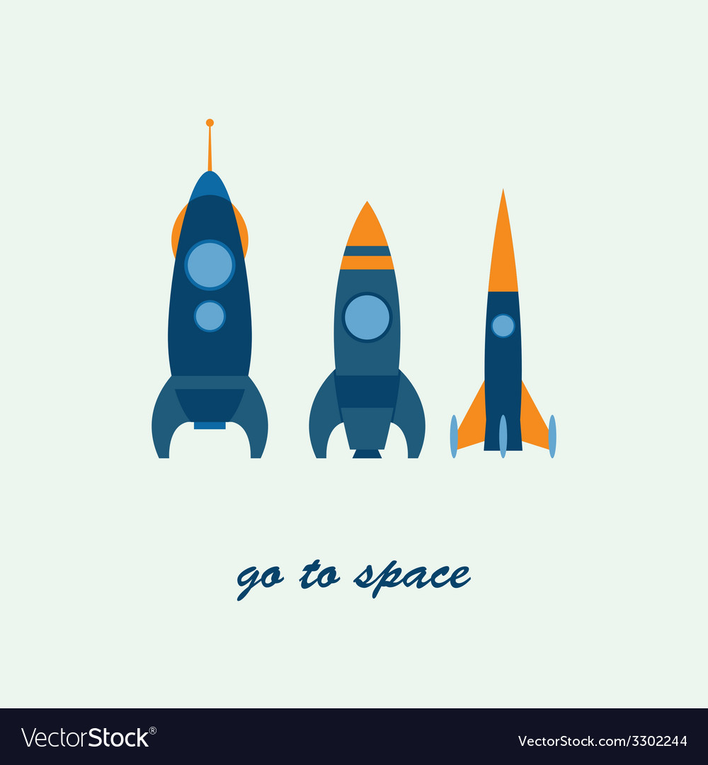 Rocket go to space vector | Price: 1 Credit (USD $1)