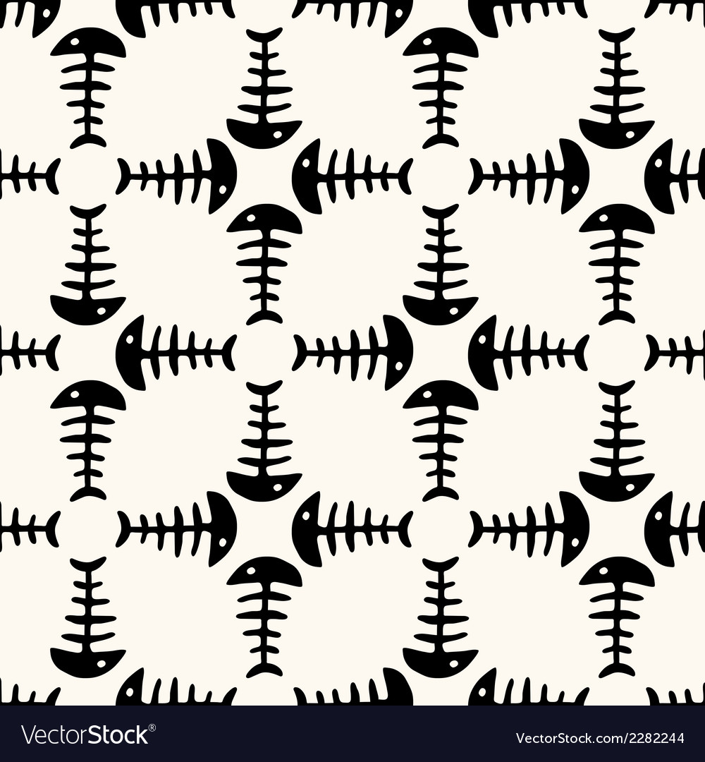 Seamless pattern of fish skeleton vector | Price: 1 Credit (USD $1)