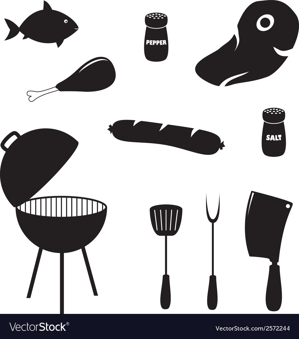 Set of barbecue related icons food grill tools vector | Price: 1 Credit (USD $1)