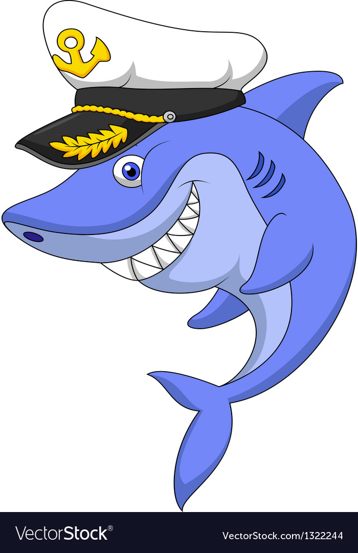 Shark captain cartoon vector | Price: 1 Credit (USD $1)