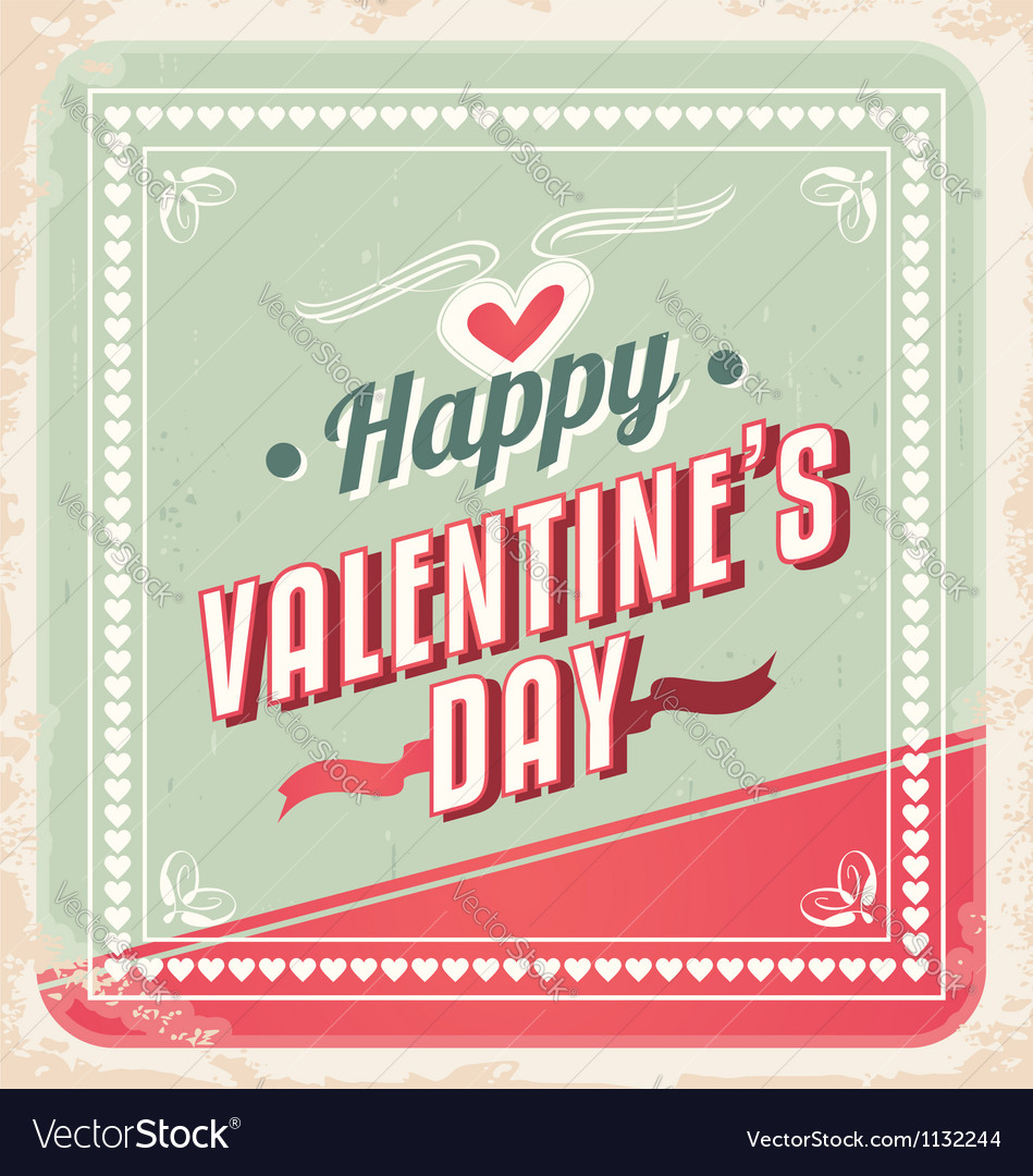 Valentines day retro card design vector | Price: 1 Credit (USD $1)