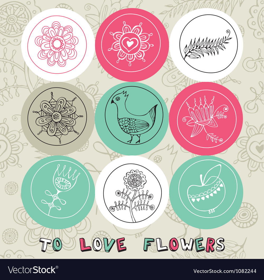Vintage love pattern elements vector | Price: 1 Credit (USD $1)