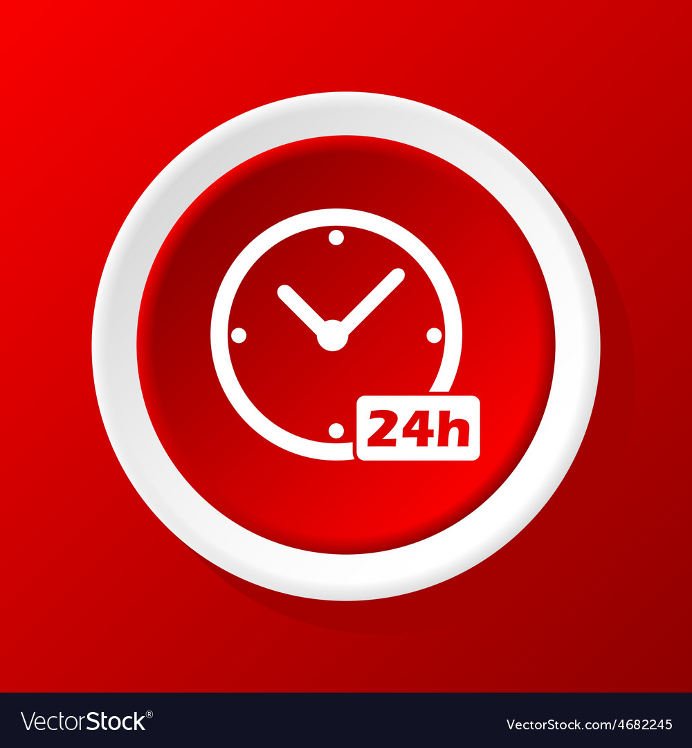 24h workhours icon on red vector | Price: 1 Credit (USD $1)