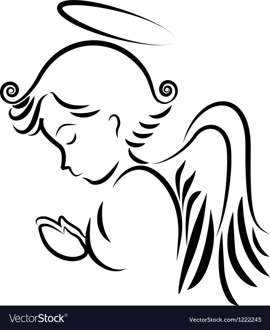 Angel praying logo vector