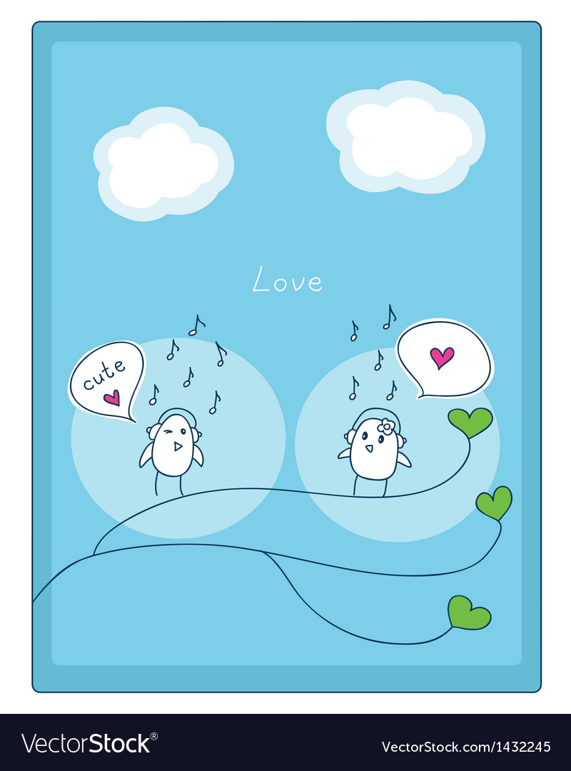 Birds music and love vector | Price: 1 Credit (USD $1)
