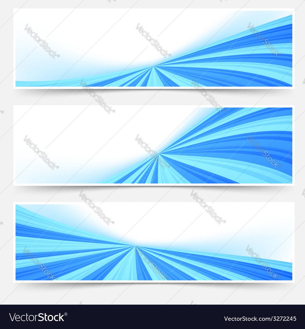 Blue stream swoosh header footer web set vector | Price: 1 Credit (USD $1)