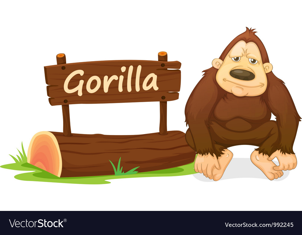 Cartoon zoo gorilla vector | Price: 1 Credit (USD $1)