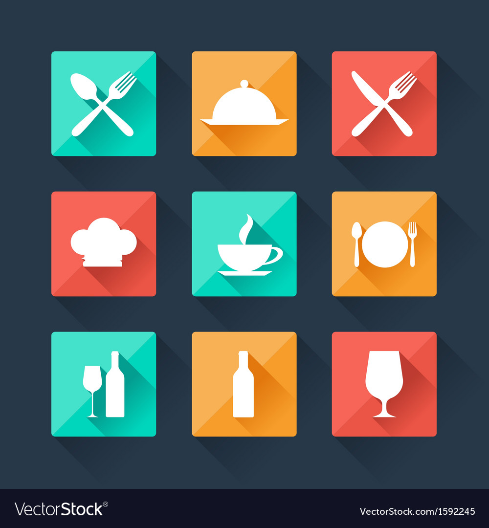 Collection flat icons food and drink for web vector | Price: 1 Credit (USD $1)