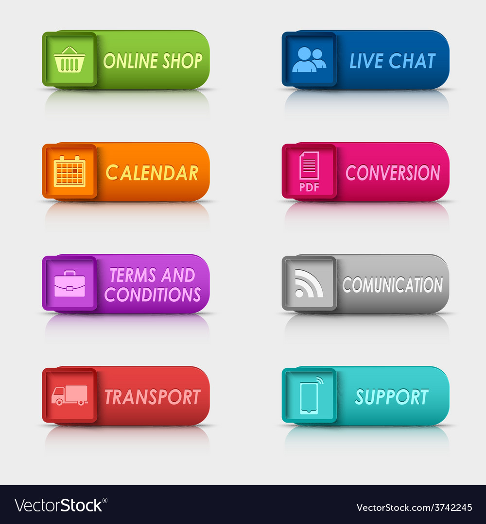 Colored set rectangular square web buttons vector | Price: 1 Credit (USD $1)