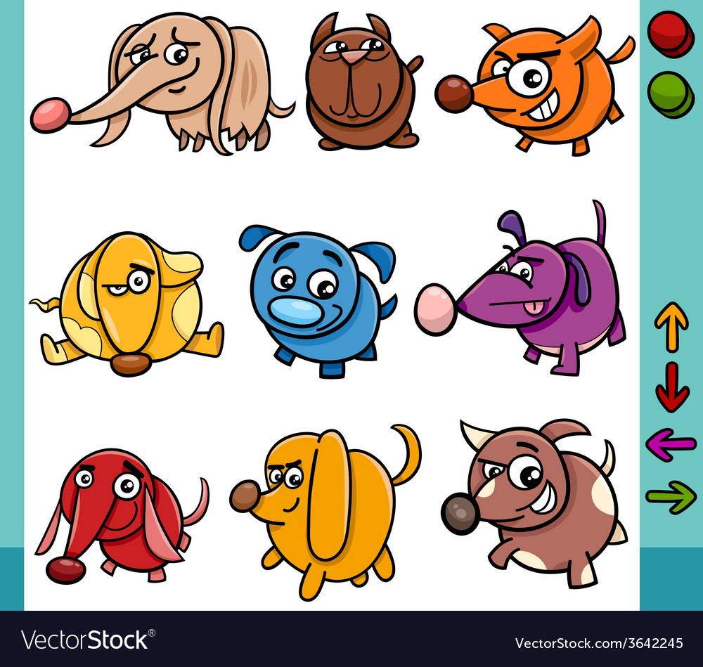 Dogs game characters cartoon vector | Price: 1 Credit (USD $1)