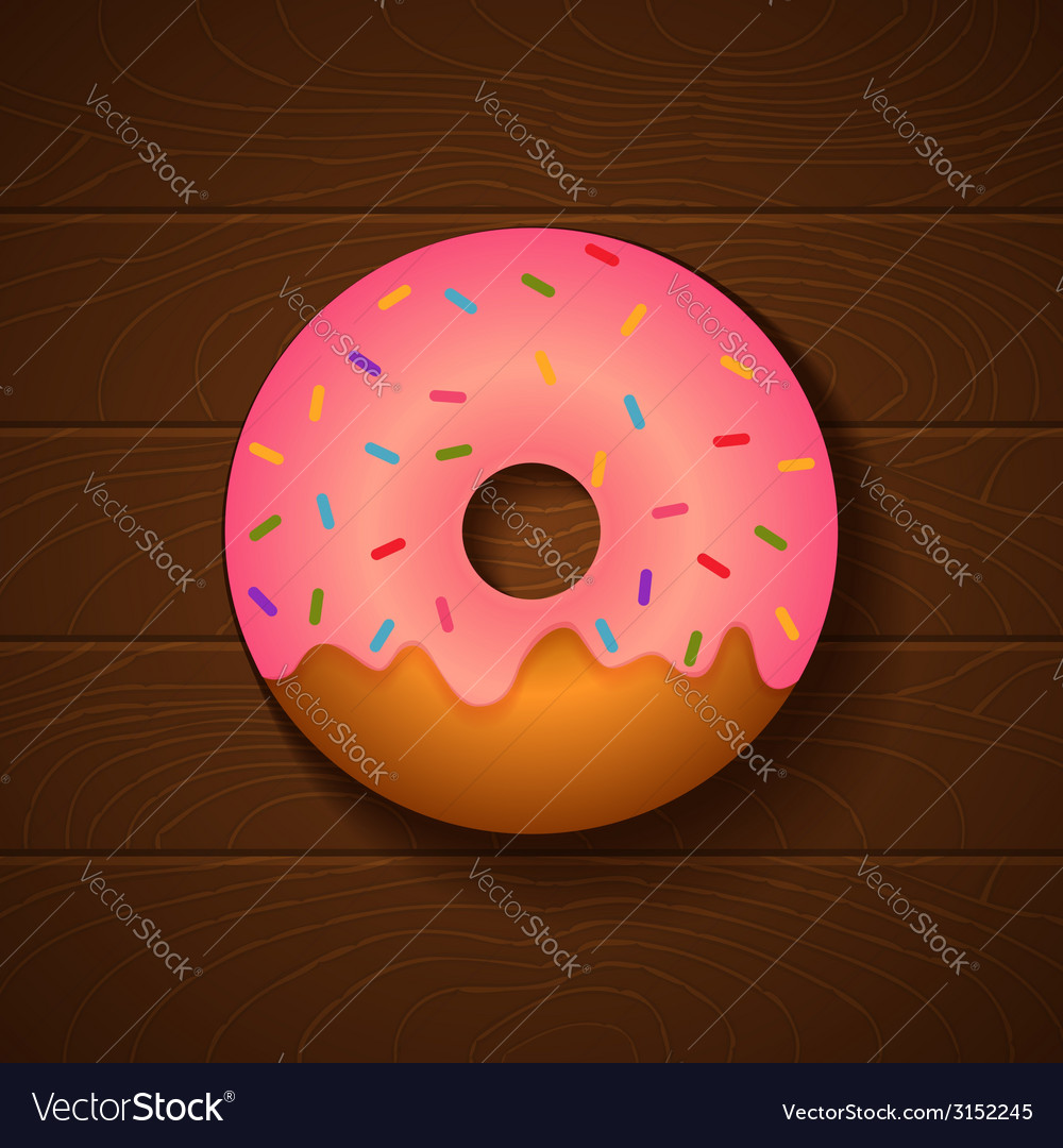 Donut pink vector | Price: 1 Credit (USD $1)
