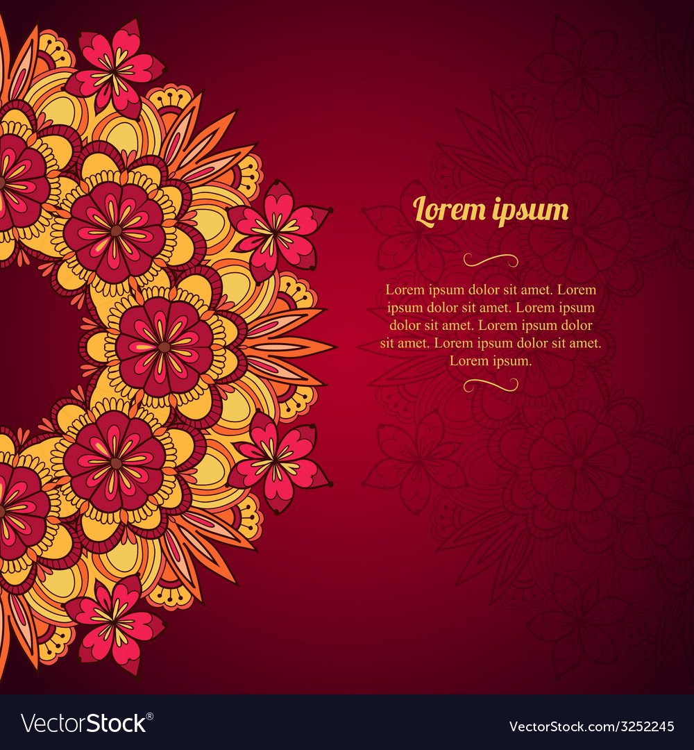 Elegant template vintage flowers lace ornament vector | Price: 1 Credit (USD $1)
