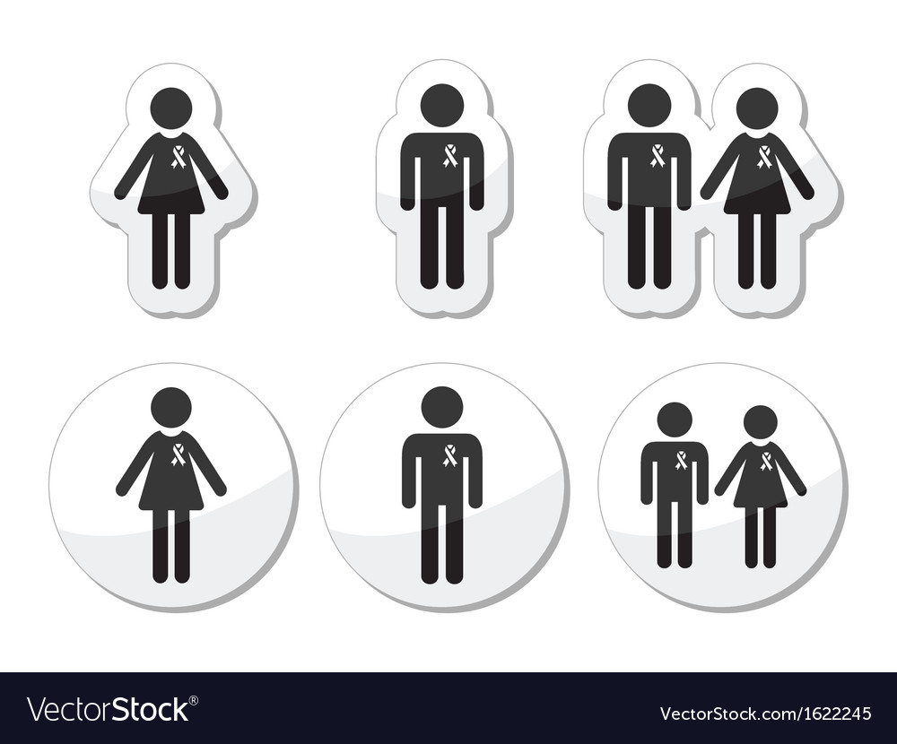 Man and woman people with awareness ribbons icons vector | Price: 1 Credit (USD $1)