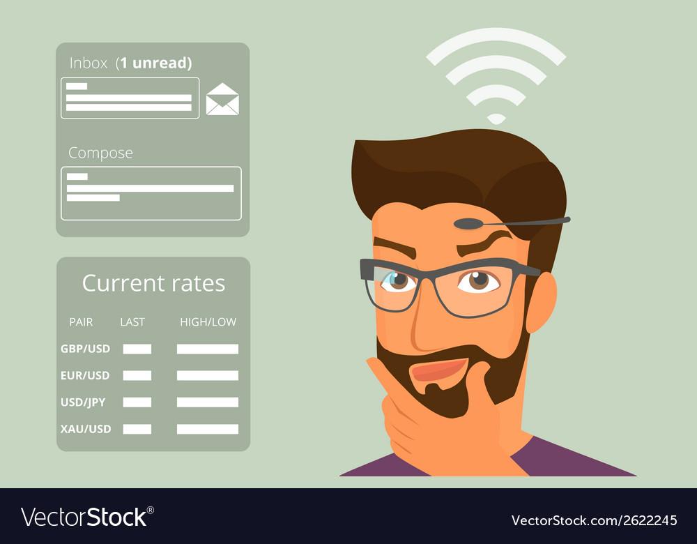 Man using head-mounted hardware technologies vector | Price: 1 Credit (USD $1)