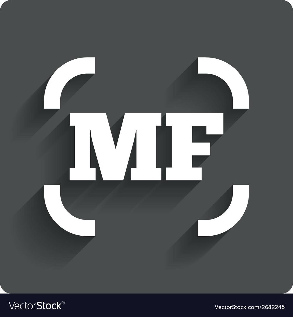 Manual focus photo camera sign icon mf settings vector | Price: 1 Credit (USD $1)