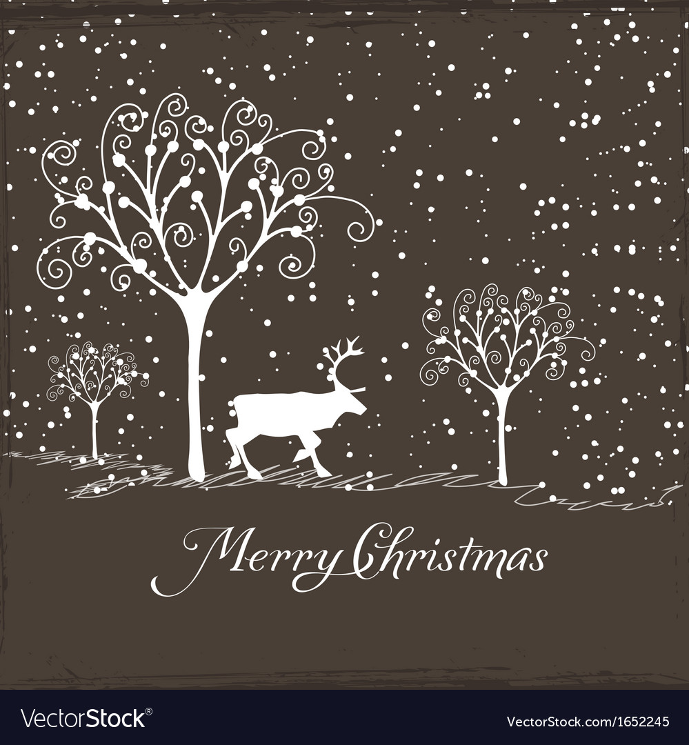 Merry christmas with deer poster vector | Price: 1 Credit (USD $1)