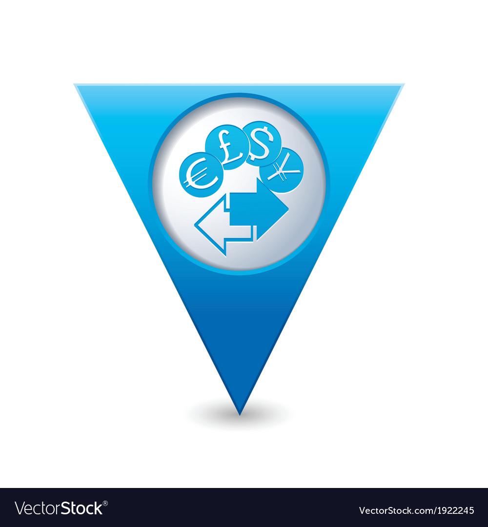 Money exchange icon map pointer blue vector | Price: 1 Credit (USD $1)