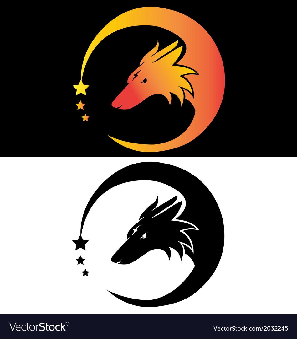 Moon fier fox head tribal with stars vector | Price: 1 Credit (USD $1)