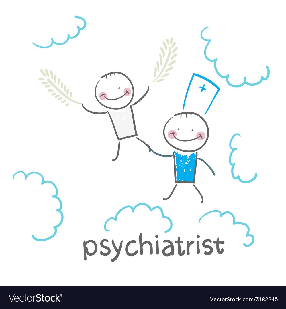 Psychiatrist with patient flies in the sky vector | Price: 1 Credit (USD $1)