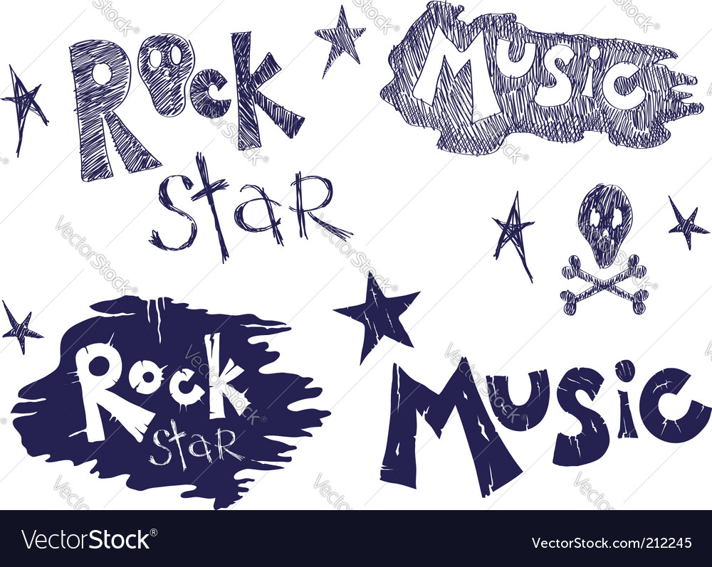Rock music set vector | Price: 1 Credit (USD $1)